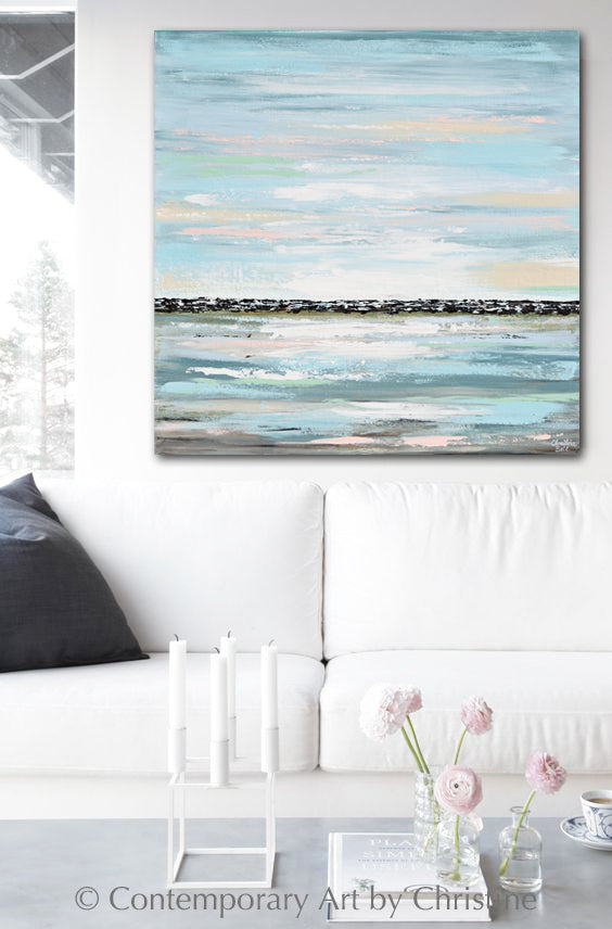 """Chase Away the Blues"" ORIGINAL Art Coastal Abstract Painting Textured Light Blue Horizon Modern 36x36"""""