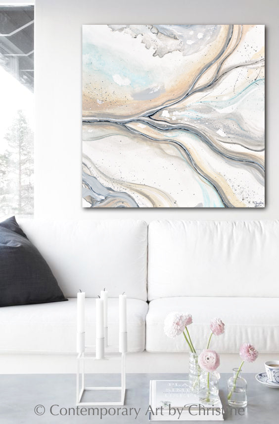 """Coastal Visions"" ORIGINAL Art Neutral Coastal Abstract Painting White Beige Grey Aqua 36x36"""""