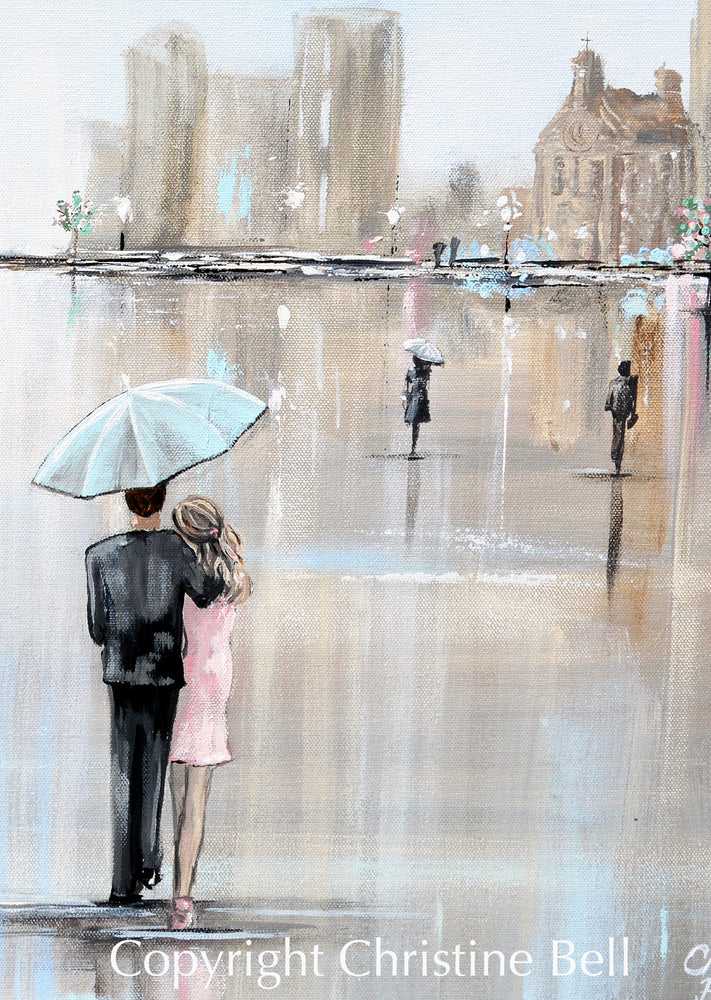 """Date Night"" ORIGINAL Art Painting Couple Umbrella Rain Cityscape Romantic City Scene 30x24"""