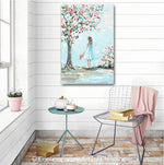 """Her English Garden"" ORIGINAL Art Painting Girl Flowers Garden Blossoming Tree Textured Floral Figurative 24x36"""