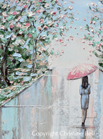 """Joyful Solitude"" ORIGINAL Art Painting Woman with Pink Umbrella Cherry Trees Textured Cityscape 24x24"""
