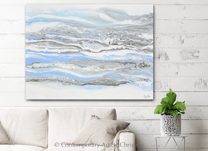 """Whispers of Hope"" ORIGINAL Art Powder Blue White Coastal Abstract Painting Marbled Coastal Wall Art XL 48x36"""""