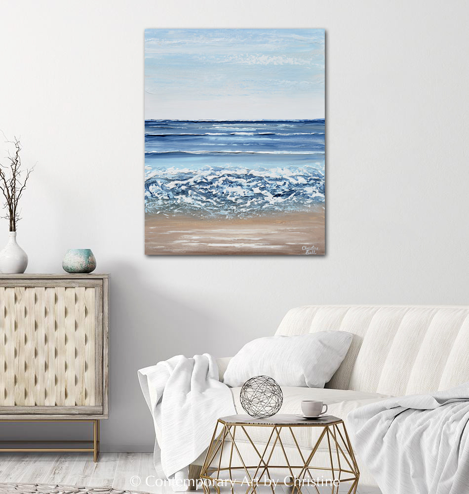 """The Solace of the Sea"" ORIGINAL Art Coastal Abstract Painting Textured Ocean Waves Blue Beach 24x30"""