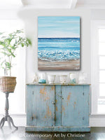 """Sapphire Waves"" GICLEE PRINT Art Coastal Abstract Painting Textured Ocean Waves Beach Turquoise Blue"