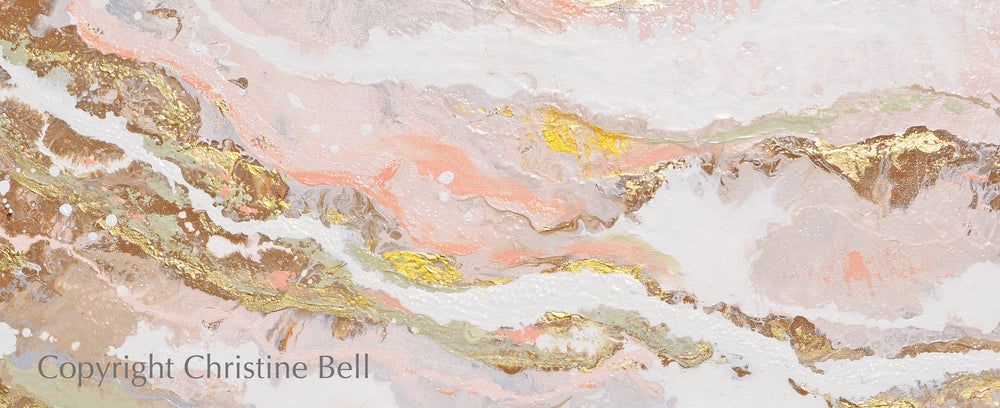 """That Rosy Glow"" GICLEE PRINT Art Pink White Gold Beige Coastal Abstract Painting Marbled Coastal Wall Art"