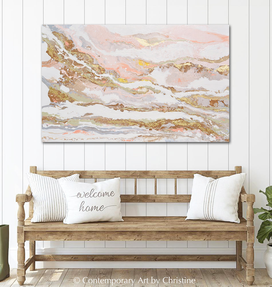 """That Rosy Glow"" ORIGINAL Art Pink White Gold Beige Coastal Abstract Painting Marbled Coastal Wall Art 48x30"""