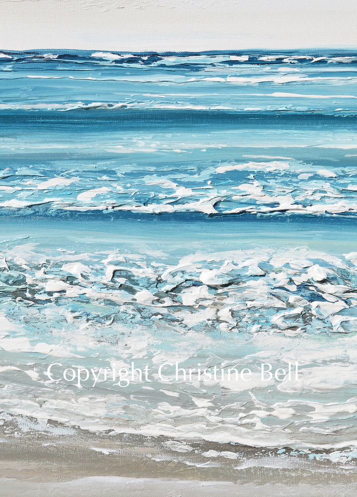 """Sand, Sea and Serenity"" ORIGINAL Art Coastal Abstract Painting Textured Ocean Waves Beach Turquoise Blue Beige 40x30"""