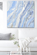 """Sea Dreams"" ORIGINAL Art Powder Blue White Coastal Abstract Painting Marbled Coastal Wall Art 24x24"""