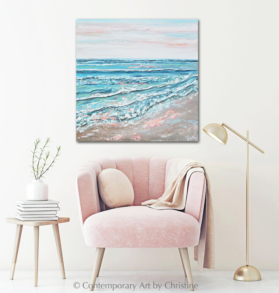 """Sea Dreams"" ORIGINAL Art Coastal Abstract Painting Textured Ocean Waves Blue Pink Beach Sunset 24x24"""