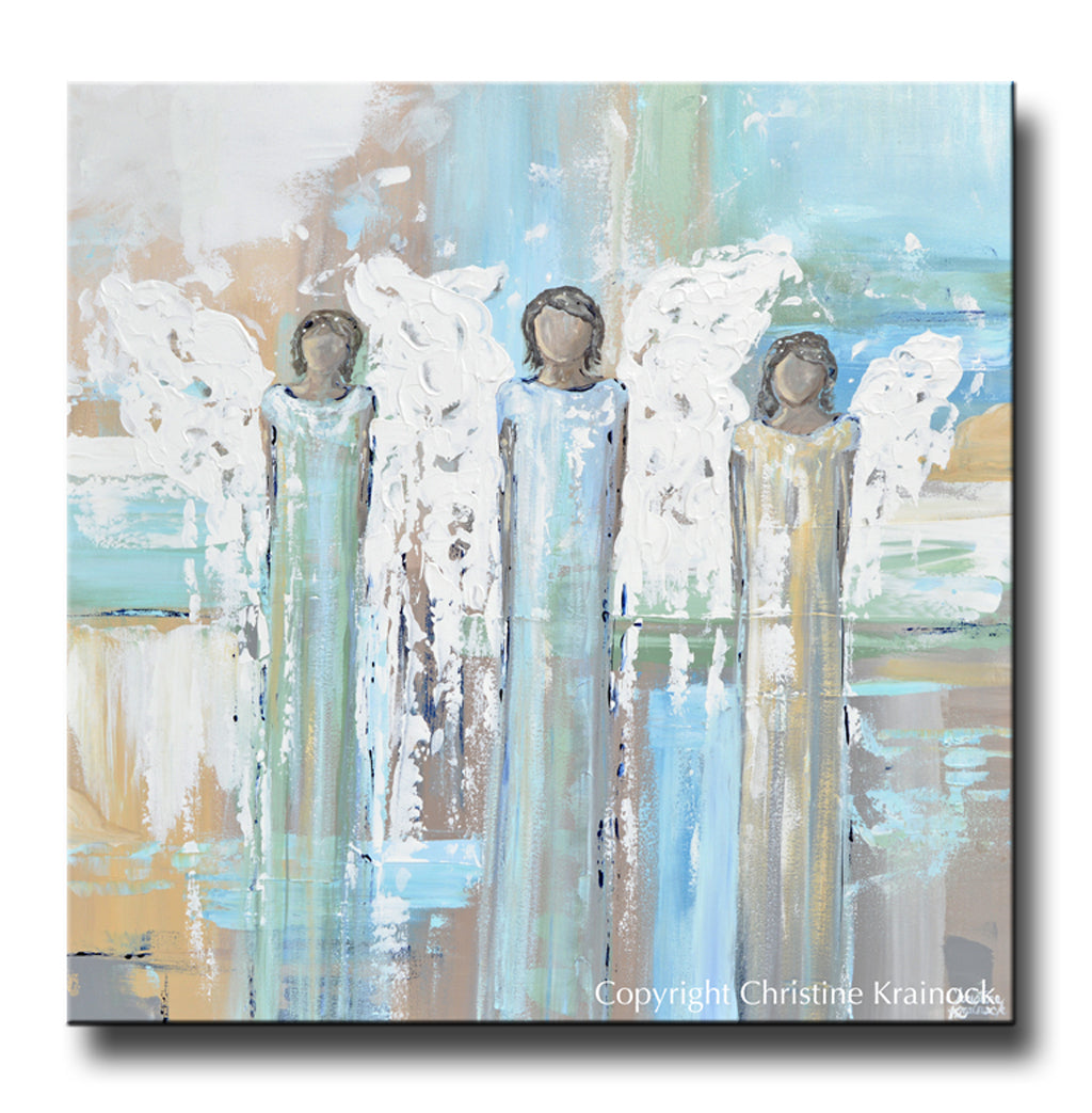 Shopping For Home Decor: ORIGINAL Abstract Angel Painting 3 Angels Blue Grey Canvas