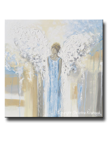 GICLEE PRINT Abstract Angel Painting Guardian Angel Fine Art Angel Wings Blue White Grey Gold Home Decor Wall Art - Christine Krainock Art - Contemporary Art by Christine - 1