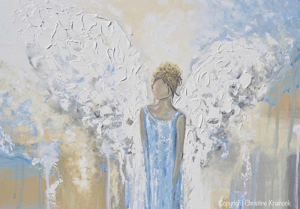 GICLEE PRINT Abstract Angel Painting Guardian Angel Fine Art Angel Wings Blue White Grey Gold Home Decor Wall Art - Christine Krainock Art - Contemporary Art by Christine - 5
