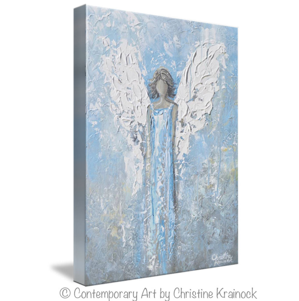 GICLEE PRINT Abstract Angel Painting Art Light Blue White Guardian Angel Palette Knife Fine Art Spiritual Wall Art - Christine Krainock Art - Contemporary Art by Christine - 7