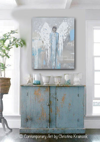 Original Angel Painting Abstract Male Guardian Angel Blue Grey Textured Home Decor Wall Art 20x24