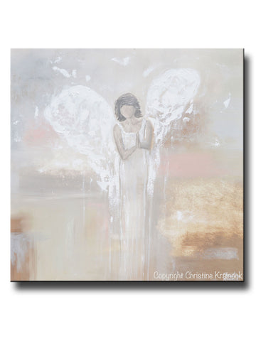 ORIGINAL Abstract Angel Painting Praying Guardian Angel Spiritual Fine Art Beige Grey Ivory Pink Home Wall Art X-Large 36x36""