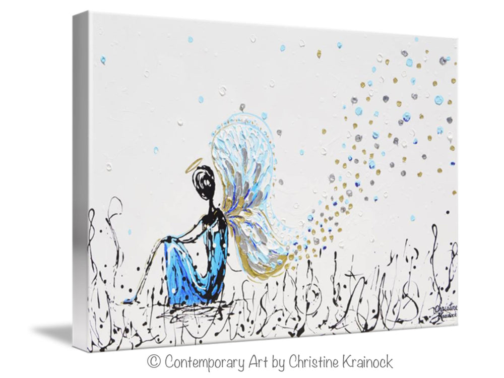 GICLEE PRINT Art Abstract Angel Painting Praying Angel Wall Art~ Joyful Heart Foundation Charity - Christine Krainock Art - Contemporary Art by Christine - 3