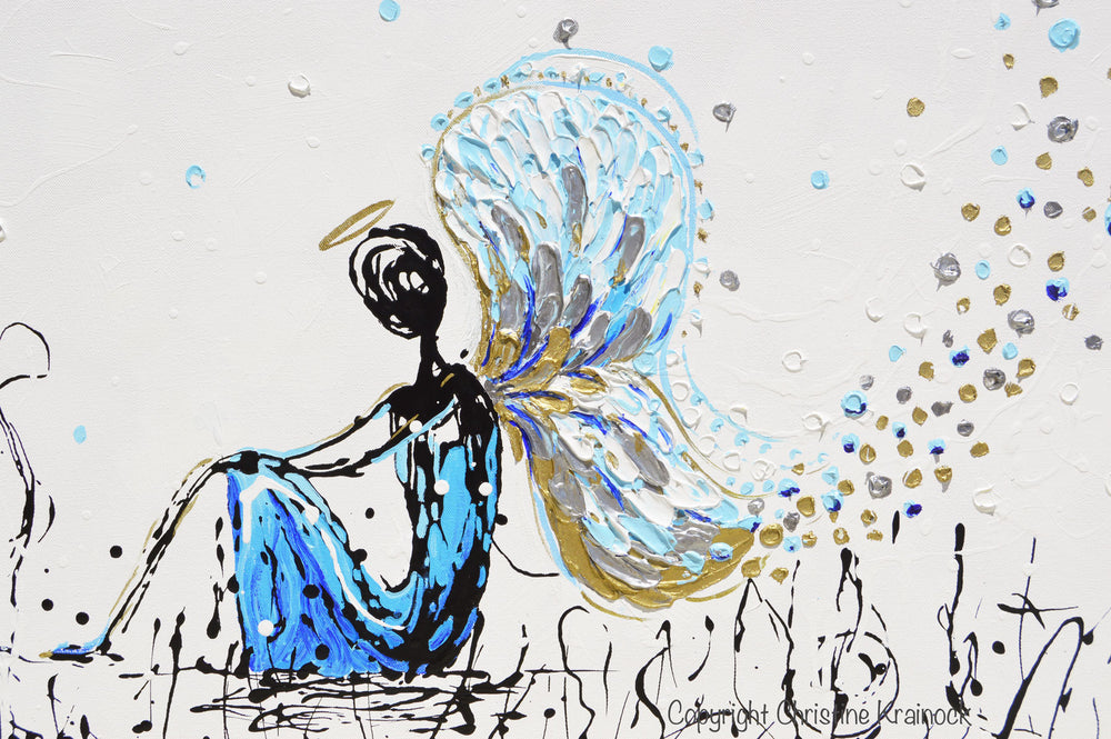 GICLEE PRINT Art Abstract Angel Painting Praying Angel Wall Art~ Joyful Heart Foundation Charity - Christine Krainock Art - Contemporary Art by Christine - 4