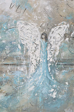 GICLEE PRINT Abstract Angel Painting Modern Angel Art Light Blue Grey Taupe White Home Wall Art