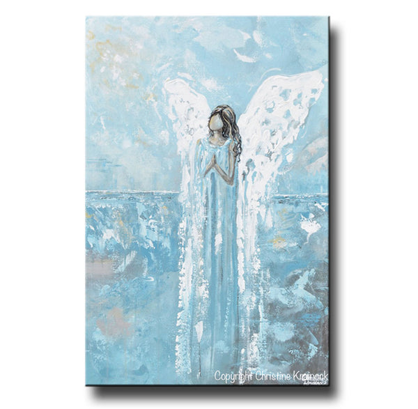 Sold Original Abstract Painting Pearl White Blue Wall Art: Canvas Print Abstract Angel Painting Guardian Angel Blue