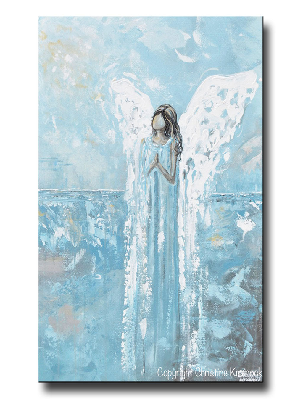 Unique Canvas Print Abstract Angel Painting Guardian Angel Blue Home Wall  WE56