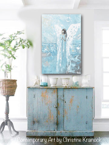 Canvas Print Abstract Angel Painting Guardian Angel Blue Home Wall