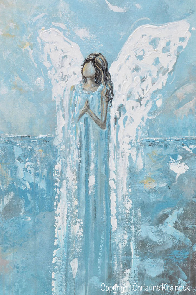 GICLEE PRINT Abstract Angel Painting Blue White Guardian Angel Home Decor Wall Art