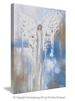GICLEE PRINT Abstract Angel Painting Textured Guardian Angel Blue White Beige Spiritual Wall Art Canvas - Christine Krainock Art - Contemporary Art by Christine - 7