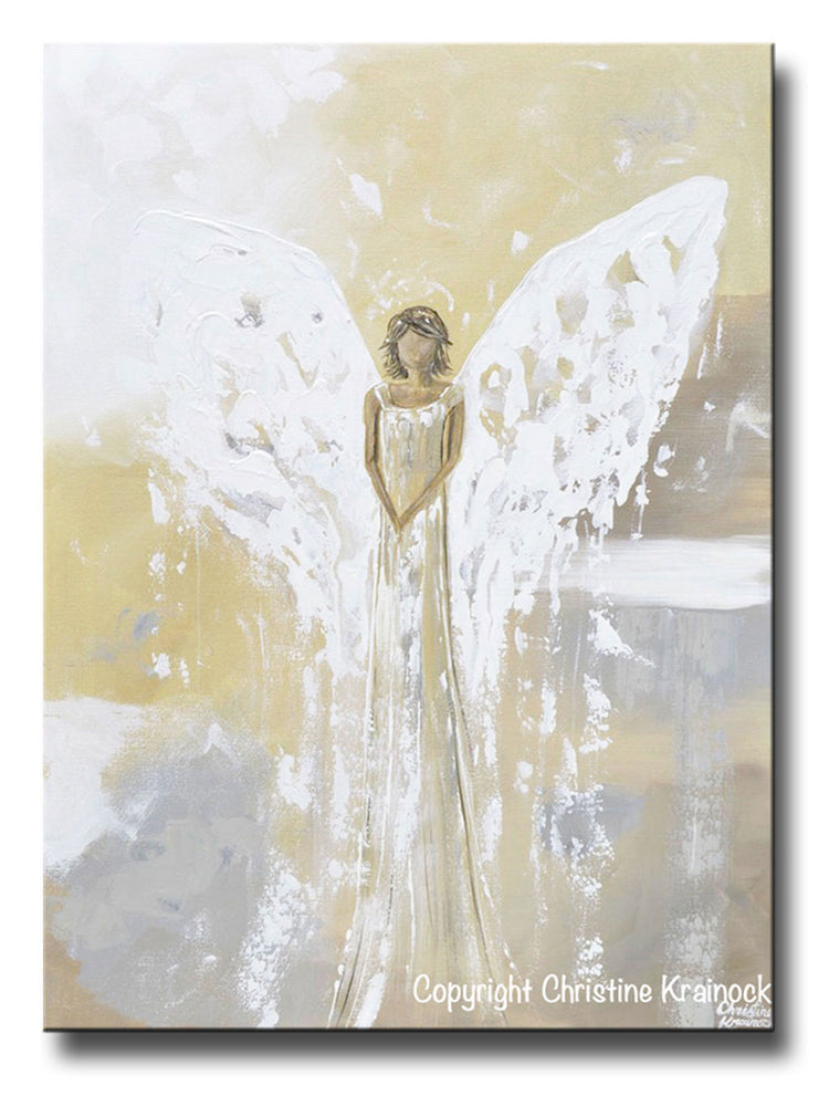 ORIGINAL Abstract Angel Painting Gold Angel White Yellow Grey Fine Art Wall Art 30x40""