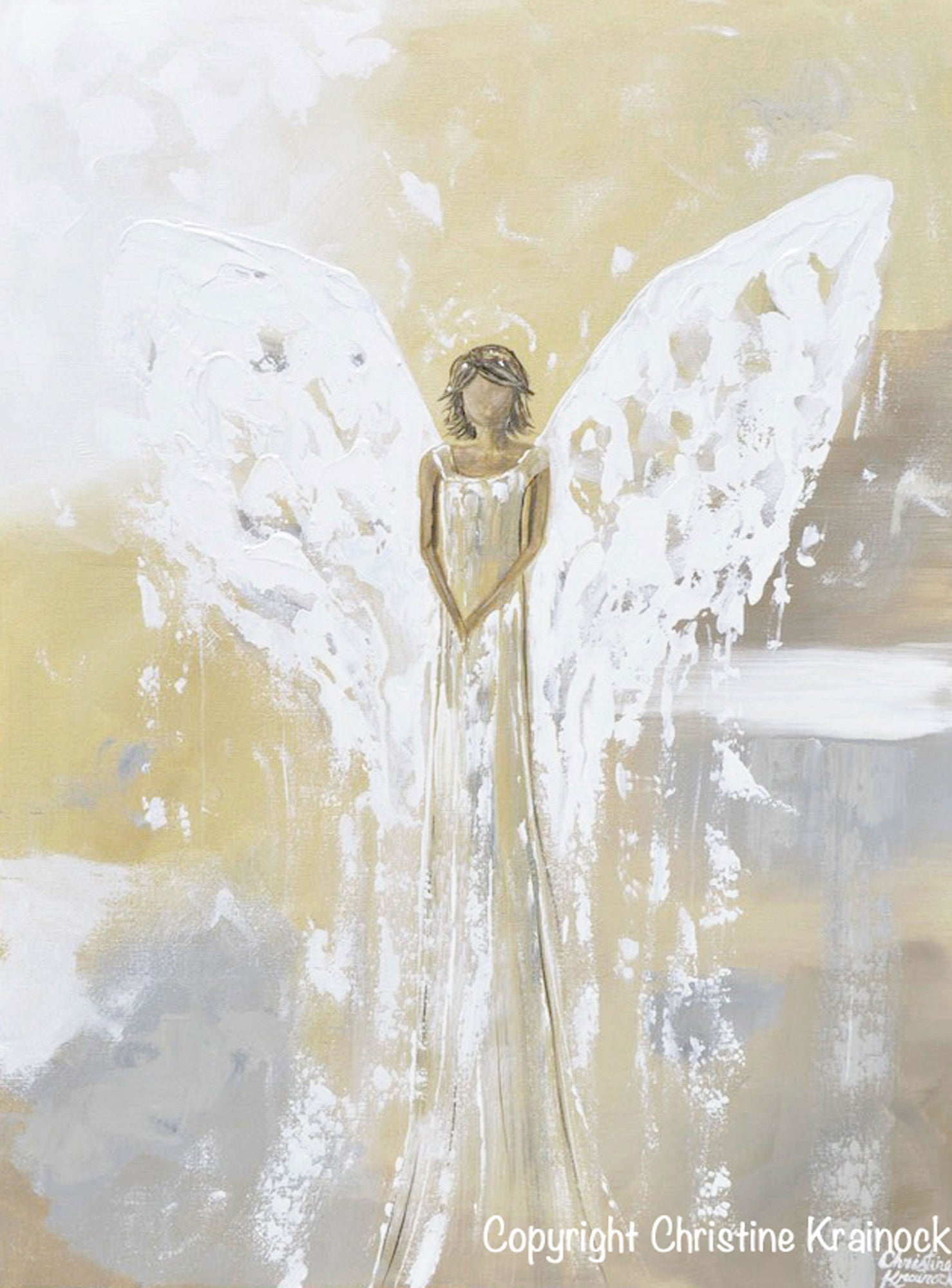 Original Angel Painting Guardian Angel Gold Grey Home Decor Large Art Contemporary Art By Christine