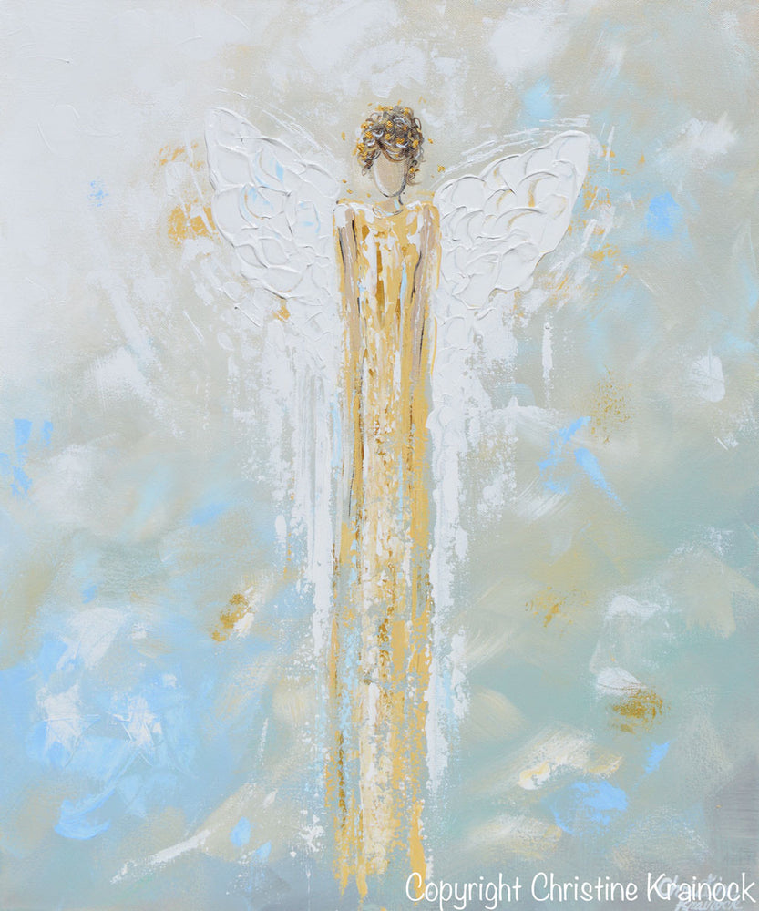 GICLEE PRINT Abstract Angel Painting Gold White Guardian Angel Canvas Blue Green Modern Home Wall Art - Christine Krainock Art - Contemporary Art by Christine - 3