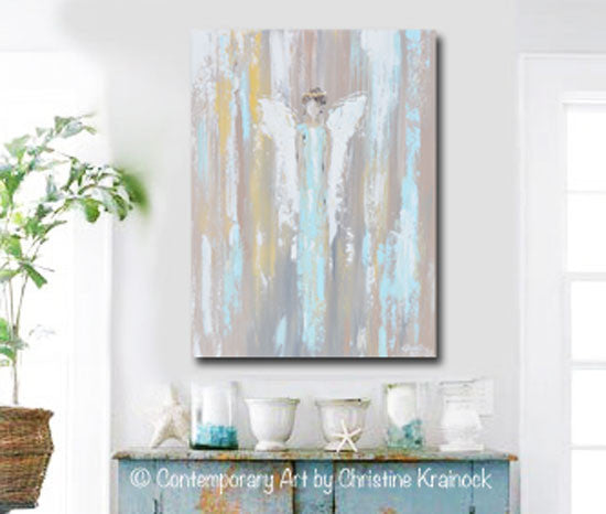 GICLEE PRINT Art Abstract Angel Painting Angel in Blue Wall Art~ Joyful Heart Foundation Charity - Christine Krainock Art - Contemporary Art by Christine - 2