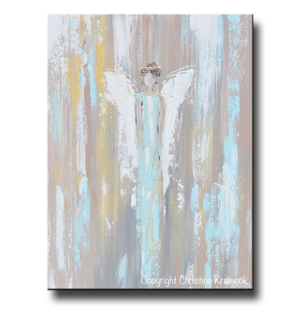 GICLEE PRINT Art Abstract Angel Painting Angel in Blue Wall Art~ Joyful Heart Foundation Charity - Christine Krainock Art - Contemporary Art by Christine - 3
