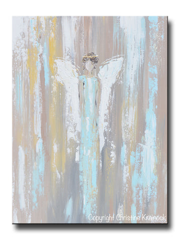 "ORIGINAL Abstract Angel Painting Guardian Angel Inspirational Art Blue Green White Textured Modern Wall Decor 24"" - Christine Krainock Art - Contemporary Art by Christine - 1"