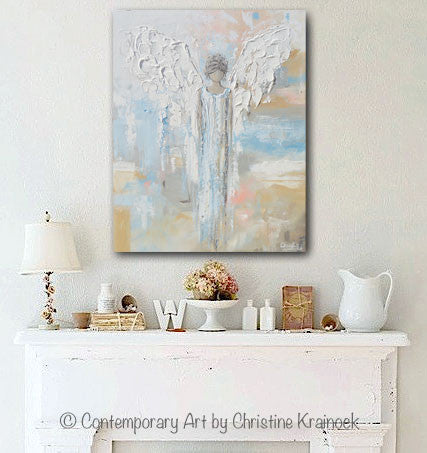 GICLEE PRINT Abstract Angel Painting Guardian Angel Spiritual Gift Blue Blush Contemporary Home Decor Wall Art - Christine Krainock Art - Contemporary Art by Christine - 2
