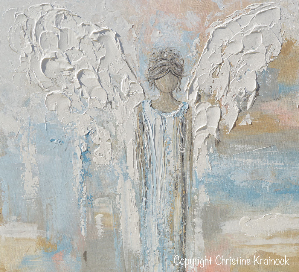 GICLEE PRINT Abstract Angel Painting Guardian Angel Spiritual Gift Blue Blush Contemporary Home Decor Wall Art - Christine Krainock Art - Contemporary Art by Christine - 5