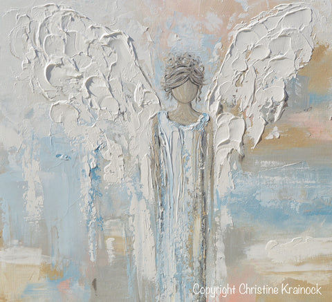 Spiritual Wall Art giclee print abstract angel painting modern gallery wall art blue