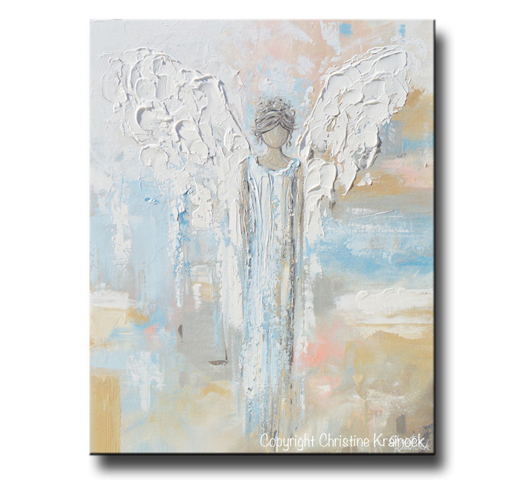 Giclee Print Abstract Angel Painting Modern Gallery Wall Art Blue Gold Contemporary Art By Christine