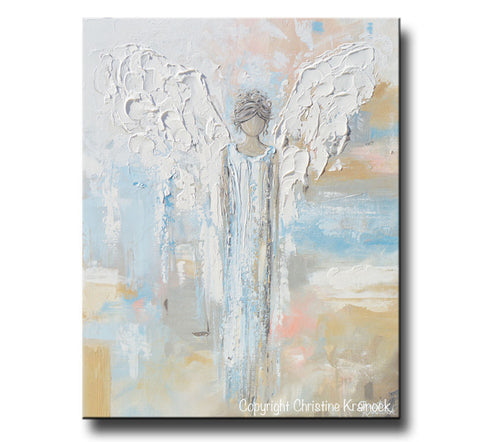 GICLEE PRINT Abstract Angel Painting Modern Gallery Wall Art Blue ...