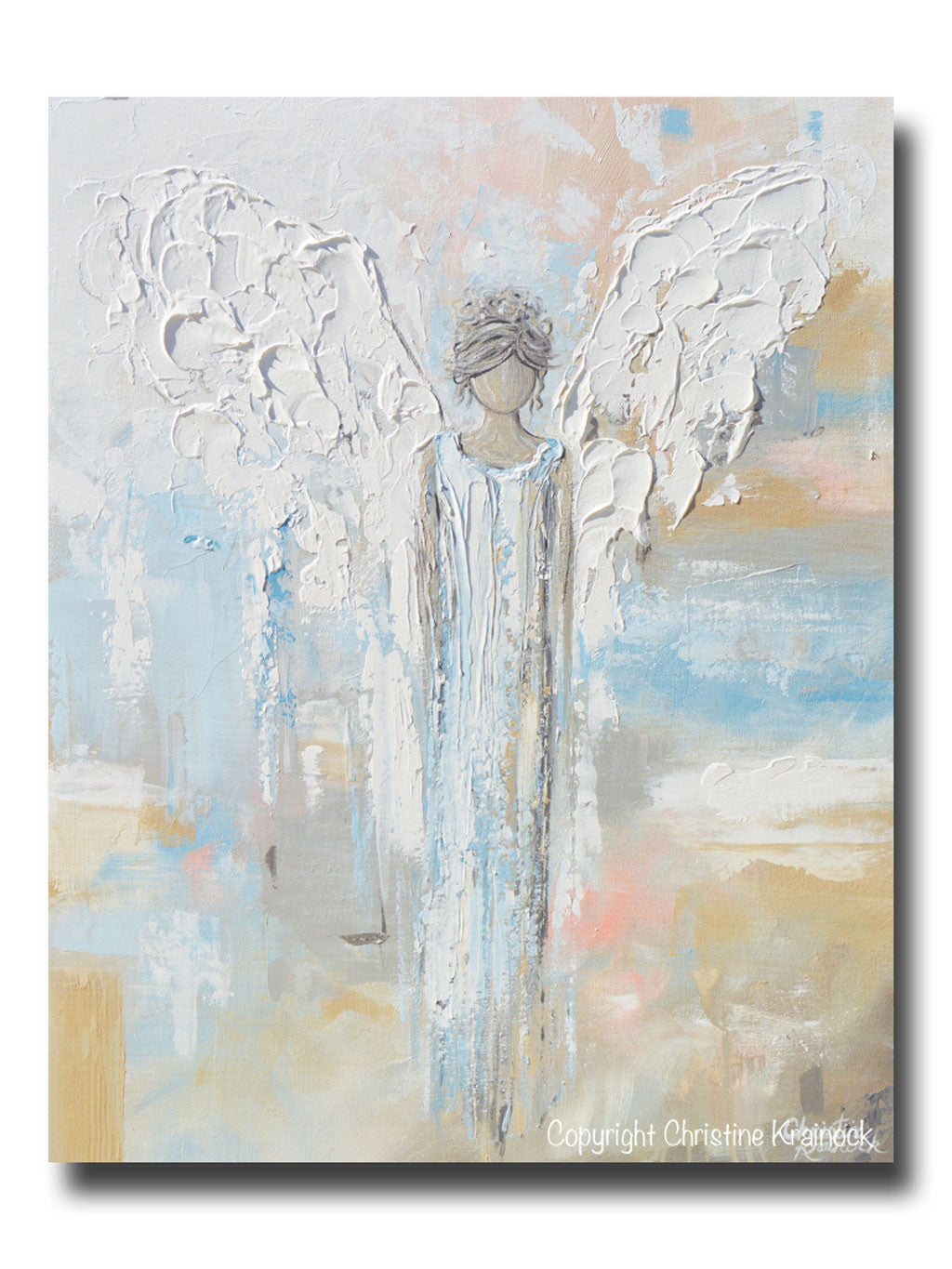 Home decor paintings - Giclee Print Abstract Angel Painting Guardian Angel Spiritual Gift Blue Blush Gold Contemporary Home Decor Wall Art