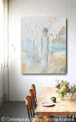 GICLEE PRINT Abstract Angel Painting Guardian Angel Spiritual Gift Blue Blush Contemporary Home Decor Wall Art - Christine Krainock Art - Contemporary Art by Christine - 4