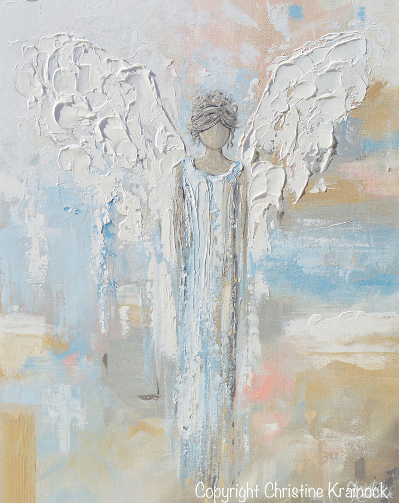 GICLEE PRINT Abstract Angel Painting Guardian Angel Spiritual Gift Blue Blush Contemporary Home Decor Wall Art - Christine Krainock Art - Contemporary Art by Christine - 6