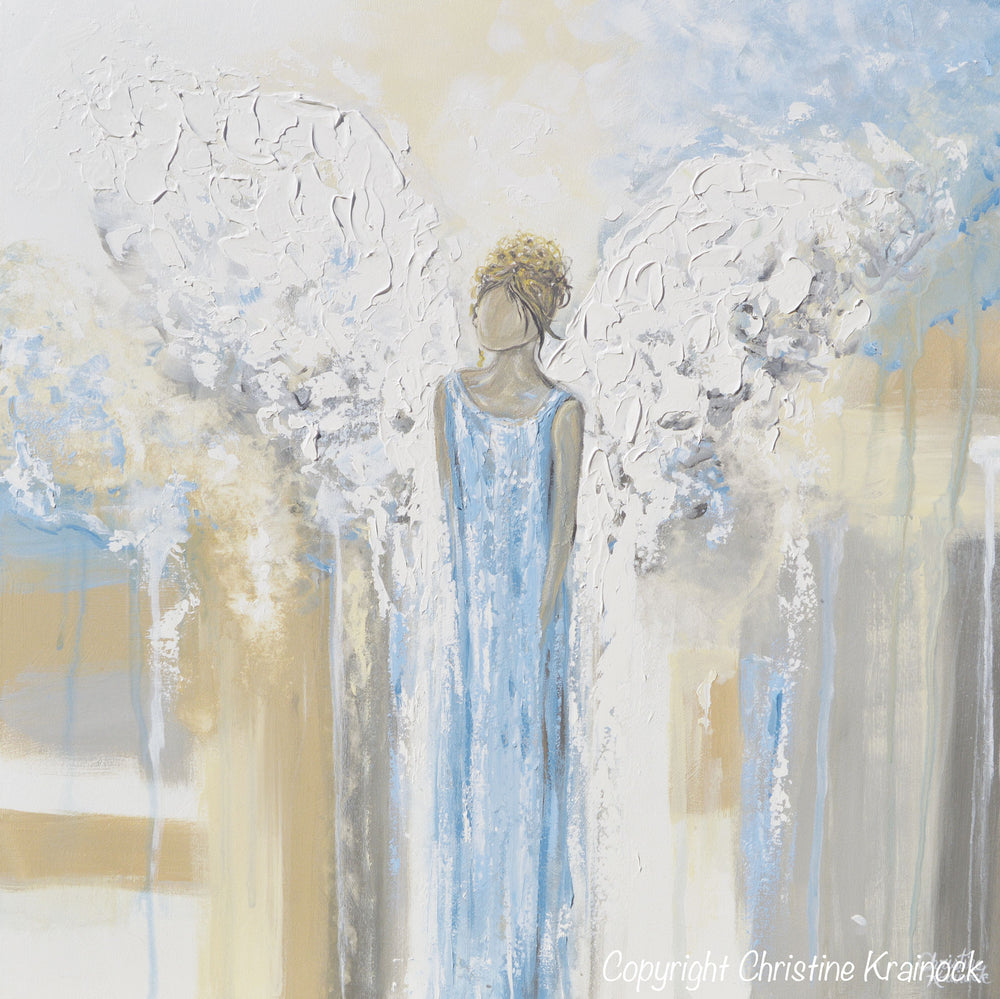 GICLEE PRINT Abstract Angel Painting Guardian Angel Fine Art Angel Wings Blue White Grey Gold Home Decor Wall Art - Christine Krainock Art - Contemporary Art by Christine - 6