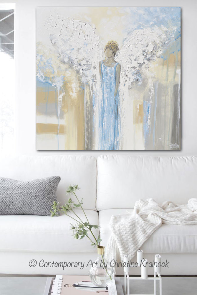 GICLEE PRINT Abstract Angel Painting Guardian Angel Fine Art Angel Wings Blue White Grey Gold Home Decor Wall Art - Christine Krainock Art - Contemporary Art by Christine - 2