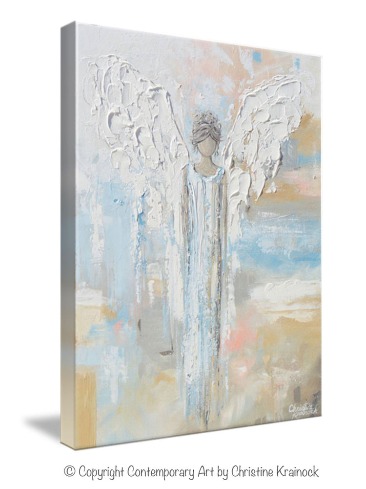 GICLEE PRINT Abstract Angel Painting Guardian Angel Spiritual Gift Blue Blush Contemporary Home Decor Wall Art - Christine Krainock Art - Contemporary Art by Christine - 7