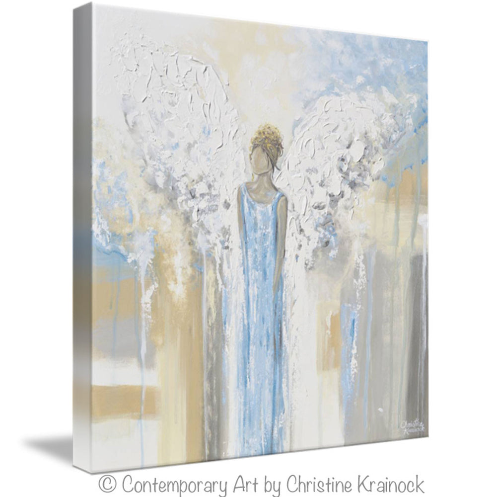 GICLEE PRINT Abstract Angel Painting Guardian Angel Fine Art Angel Wings Blue White Grey Gold Home Decor Wall Art - Christine Krainock Art - Contemporary Art by Christine - 7