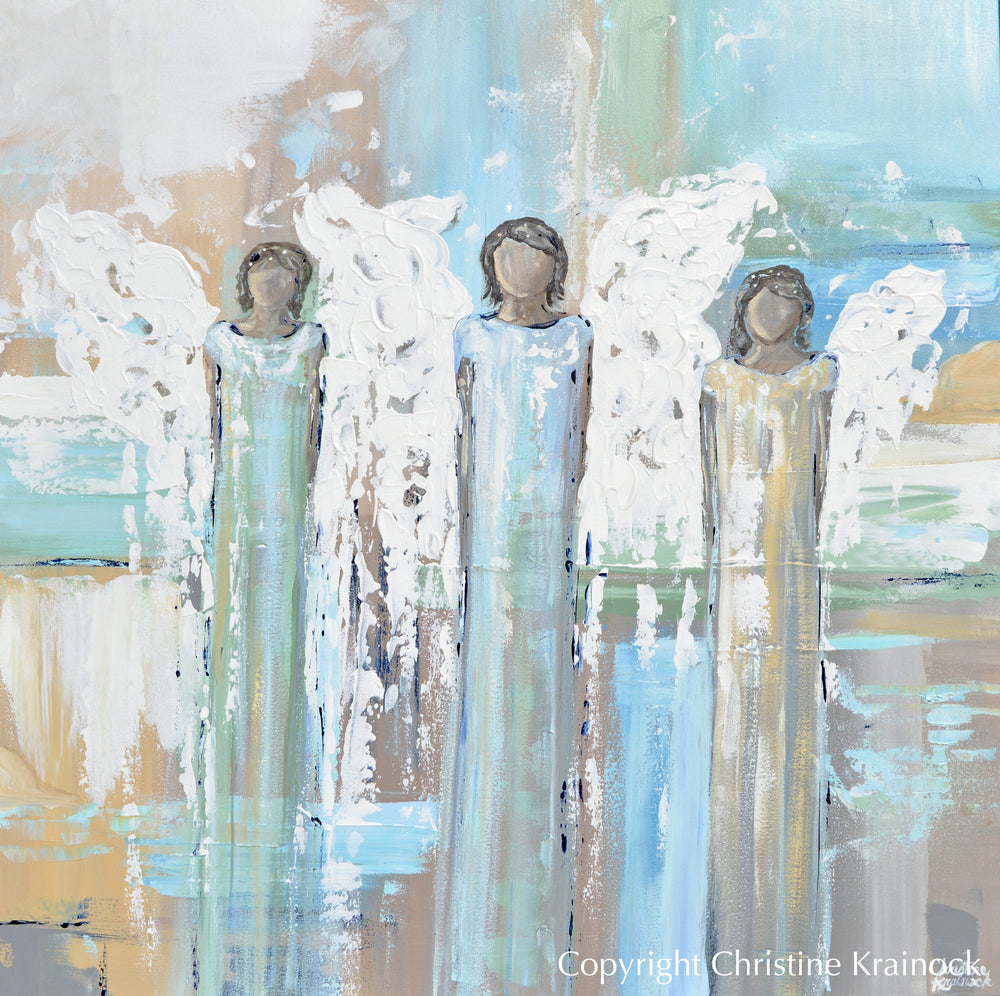 ORIGINAL Abstract Angel Painting 3 Angels White Blue Green Gold Grey Home Wall Decor 36x36""
