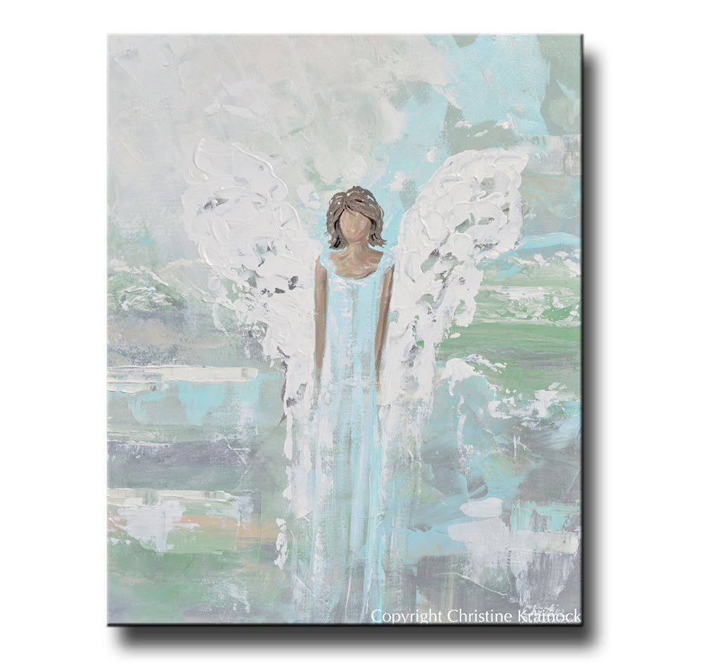 ORIGINAL Abstract Angel Painting Art Guardian Angel Aqua Blue Green Spiritual Home Wall Decor 24x30""