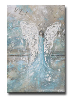ORIGINAL Abstract Angel Painting Textured Guardian Angel White Blue Grey Taupe Home Decor Wall Art 24x36""