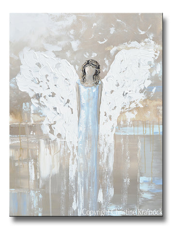 ORIGINAL Abstract Angel Painting Spiritual Fine Art White Blue Grey Home Wall Decor 30x40""