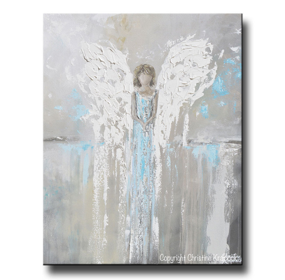 GICLEE PRINT Abstract Angel Painting Guardian Angel Spiritual Gift Grey Blue Home Decor Wall Art
